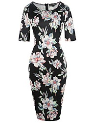Women's Party Going out Casual/Daily Sexy Vintage Street chic Bodycon Sheath Dress,Floral Round Neck Knee-length Half SleevesPolyester