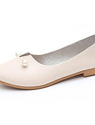 cheap -Women's Shoes PU Fall Comfort Flats Flat Heel Round Toe Beading For Casual Almond Beige Black