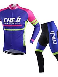 baratos -cheji® Homens Manga Longa Calça com Camisa para Ciclismo - Roxo Moto Conjuntos de Roupas, Secagem Rápida