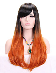 cheap -Women Synthetic Wig Capless Long Wavy Orange Ombre Hair Dark Roots With Bangs Cosplay Wig Costume Wig