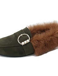 cheap -Women's Shoes Feather/ Fur Fall Moccasin Loafers & Slip-Ons Flat Heel Square Toe Rhinestone For Casual Khaki Army Green Black