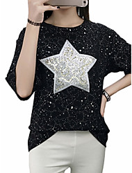 Women's Plus Size Going out Casual/Daily Club Street chic Punk & Gothic Sophisticated Summer Fall T-shirt,Embroidery Round Neck Short