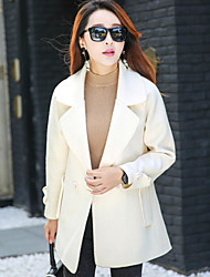 Women's Casual/Daily Simple Fall Winter Coat,Solid Notch Lapel Long Sleeve Regular Polyester