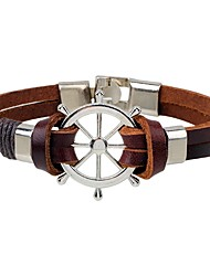 cheap -Men's Leather Bracelet - Leather Fashion, Hip-Hop Bracelet Coffee For Casual