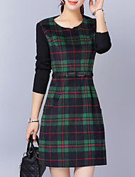 cheap -Women's Daily Plus Size Casual Sheath Dress,Plaid Round Neck Above Knee Long Sleeves Acrylic Winter Fall Mid Rise Inelastic Thick