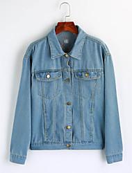 baratos -Mulheres Padrão Jaqueta jeans Para Noite Fofo Inverno Algodão Colarinho de Camisa Estampado