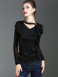 XSSL Women's Holiday Going out Vintage Simple Street chic Spring Fall T-shirt,Solid V Neck Long Sleeves Polyester Medium