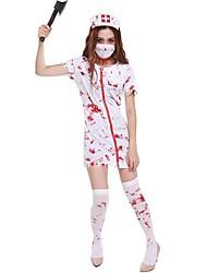 abordables -Zombi Enfermera Disfrace de Cosplay Navidad Halloween Carnaval Oktoberfest Año Nuevo Festival / Celebración Disfraces de Halloween Blanco