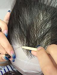 preiswerte -Echthaar Vollspitze Perücke Brasilianisches Haar Glatt Perücke Mit Strähnen 130% Afro-amerikanische Perücke / 100 % von Hand geknüpft Damen Medium Echthaar Perücken mit Spitze / Gerade