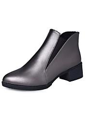 baratos -Mulheres Sapatos Couro Ecológico Outono Coturnos Botas Salto Robusto Dedo Apontado Elástico para Preto / Cinzento