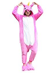 cheap -Adults' Kigurumi Pajamas with Slippers Unicorn / Flying Horse Onesie Pajamas Costume Flannel Fabric Pink Cosplay For Animal Sleepwear Cartoon Halloween Festival / Holiday / Christmas