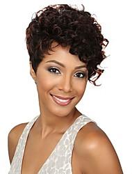 billige -Syntetiske parykker Krøllet Pixie frisure / Assymetrisk frisure Syntetisk hår Afro-amerikansk paryk Brun Paryk Dame Kort Lågløs