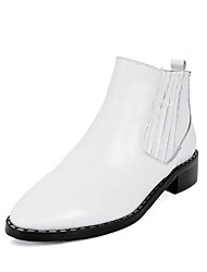 baratos -Mulheres Sapatos Couro Inverno Curta / Ankle / Botas da Moda / Conforto Botas Salto Baixo Ponta Redonda Botas Curtas / Ankle Elástico para