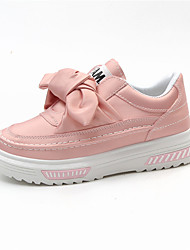 Women's Shoes Leatherette Spring Fall Comfort Loafers & Slip-Ons Platform Round Toe Bowknot For Casual Blushing Pink Black White