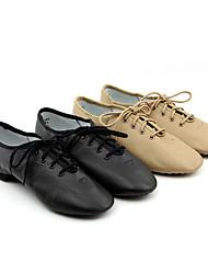Women's Jazz Cowhide Heel Training Low Heel Black Brown Customizable