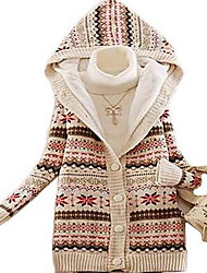 Women's Daily Casual Long Cardigan,Geometric Hooded Long Sleeves Cotton Winter Thick Inelastic