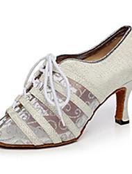 Women's Latin Net Glitter Heel Indoor Splicing Gold Black Silver Customizable