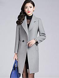 Damen Solide Street Schick Ausgehen Übergröße Mantel,Hemdkragen Herbst Winter Lange Ärmel Standard Kaschmir Polyester