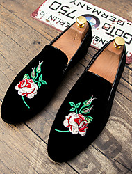 Men's Shoes Suede Fall Winter Driving Shoes Formal Shoes Comfort Loafers & Slip-Ons Flower For Wedding Party & Evening Black