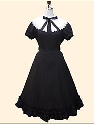 preiswerte -Klassische/Traditionelle Lolita Prinzessin Damen Mädchen Kleid Cosplay Schwarz Kurzarm Tee-Länge