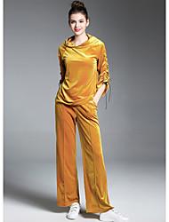 Feminino Moletom Calça Conjuntos Para Noite Moda de Rua Outono,Sólido Manga Longa Micro-Elástica