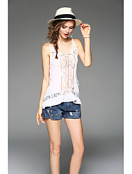Women's Going out Holiday Sexy Summer Blouse,Solid Strap Sleeveless Polyester Thin