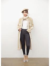 Women's Casual/Daily Simple Fall Winter Coat,Solid Stand Long Sleeve Long Lamb Fur Lambskin