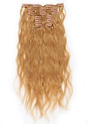 economico -onda natale bionda malese luce naturale # 27 testa piena naturale 100 grammi 7 pezzi clip in estensioni dei capelli umani