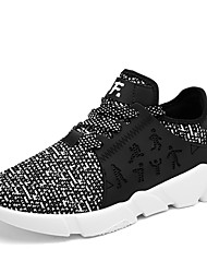 cheap -Men's Athletic Shoes Comfort Fall Winter Breathable Mesh PU Walking Shoes Casual Outdoor Lace-up Black/White Black White Flat