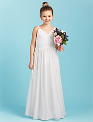 cheap -A-Line Princess Spaghetti Straps Floor Length Chiffon Junior Bridesmaid Dress with Sash / Ribbon Criss Cross by LAN TING BRIDE®