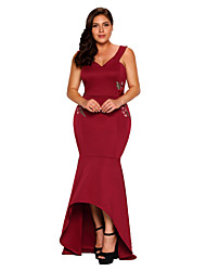 Women's Party Club Sexy Bodycon Dress,Embroidered V Neck Maxi Sleeveless Polyester Spandex Summer High Rise Stretchy Medium