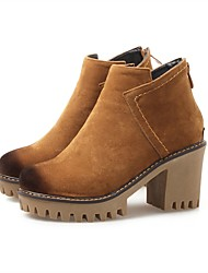 Women's Shoes Nubuck leather Fall Winter Fashion Boots Boots Chunky Heel Round Toe Booties/Ankle Boots With Zipper For Casual Office &