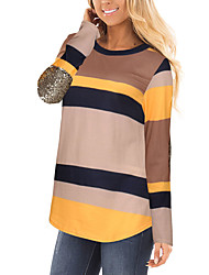 cheap -Women's Daily Going out Casual Street chic Spring Fall T-shirt,Striped Color Block Round Neck Long Sleeves Polyester Medium