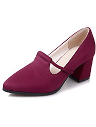 cheap -Women's Shoes Fleece Spring Fall Comfort Heels Chunky Heel Pointed Toe For Outdoor Office & Career Burgundy Dark Blue Black