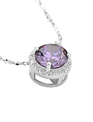 Women's Pendant Necklaces AAA Cubic Zirconia Round Sterling Silver Zircon Basic Elegant Jewelry For Casual Formal