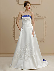 cheap -A-Line Strapless Court Train Satin Custom Wedding Dresses with Beading Buttons Embroidery by LAN TING BRIDE®