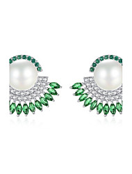 cheap -Women's Stud Earrings Drop Earrings Pearl AAA Cubic Zirconia Natural Luxury Cubic Zirconia Geometric Jewelry For Party Daily