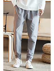 cheap -Men's Plus Size Mid Rise Micro-elastic Skinny Loose Chinos Pants, Vintage Casual Chinoiserie Solid Cotton All Seasons