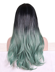 cheap -Women Synthetic Wig Capless Long Wavy Mint Green Ombre Hair Dark Roots With Bangs Cosplay Wig Costume Wig