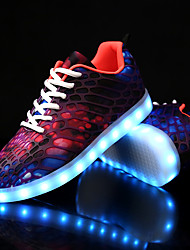 cheap -Men's Shoes Canvas Fall Winter Light Up Shoes Comfort Sneakers With Animal Print LED Lace-up For Casual Party & Evening Green/Blue Red