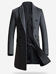 cheap -Men's Daily Simple Casual Winter Long Coat,Solid Peaked Lapel Others