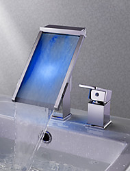cheap -Bathroom Sink Faucet - Waterfall Color-Changing Chrome Widespread Single Handle Two Holes