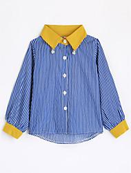 abordables -Camisa Chico Rayas Algodón Mangas largas Otoño Azul Piscina