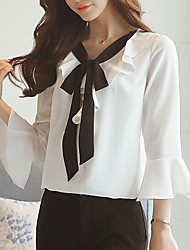 Women's Going out Casual/Daily Simple Fall Winter Blouse,Solid Round Neck 3/4 Length Sleeves Polyester Medium