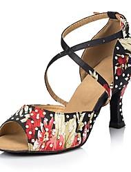 "cheap -Women's Latin Satin Sandal Performance Pattern/Print Cuban Heel Black 2"" - 2 3/4"" Customizable"