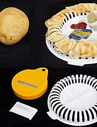 baratos -3pcs forno de microondas gordura batatas fritas bandeja bandeja de batata fabricante de porta navios faca ferramenta de culinária