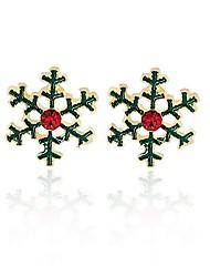 abordables -Mujer Copo de Nieve Diamante sintético Pendientes cortos - Personalizado / Moda Verde Aretes Para Navidad / Regalo