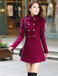 Women's Casual/Daily Simple Fall Winter Coat,Solid Stand Long Sleeve Regular Cashmere