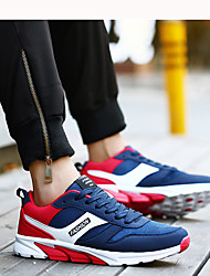 Men's Athletic Shoes Light Soles Spring Fall PU Walking Shoes Casual Lace-up Flat Heel Black/Blue Black/Red Dark Blue 2in-2 3/4in