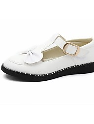 cheap -Girls' Shoes Leatherette Spring Fall Flower Girl Shoes Comfort Flats Bowknot Magic Tape for Casual Dress White Black Red Pink